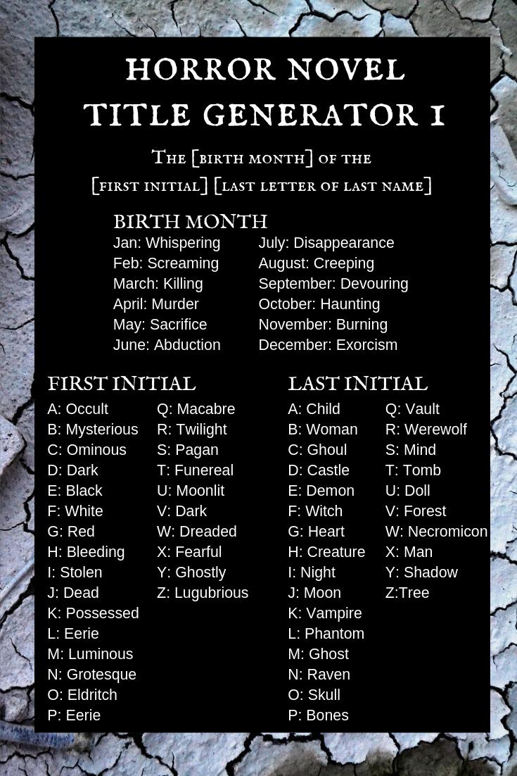 Horror Novel Title Generator